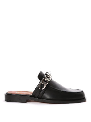 Givenchy: Loafers & Slippers - Leather loafers with chain
