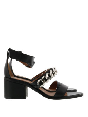 Givenchy: Loafers & Slippers - Leather sandals with chain