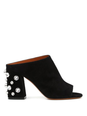 Givenchy: mules shoes - Embellished open toe suede mules