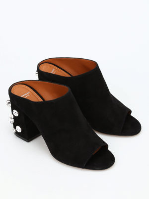 Givenchy: mules shoes online - Embellished open toe suede mules