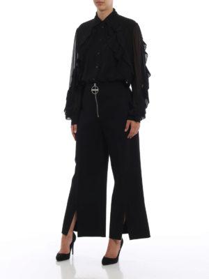 GIVENCHY: pantaloni casual online - Pantaloni ampi in lana con taglio sul fondo