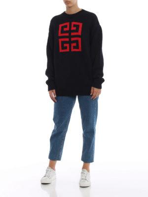 GIVENCHY: maglia collo rotondo online - Pullover in cotone con intarsio 4G