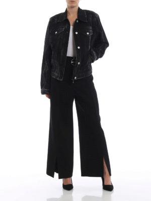 GIVENCHY: giacche denim online - Giubbotto nero in denim con logo ad anelli