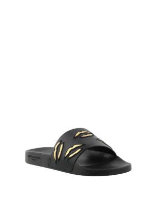 GIVENCHY: sandali online - Ciabatte in gomma labbra ricamate