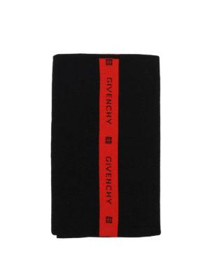 GIVENCHY: sciarpe e foulard online - Sciarpa in lana nera e rossa con logo