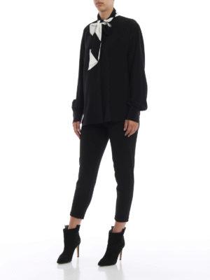 GIVENCHY: camicie online - Camicia coreana in seta con fiocco bicolore