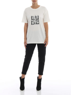 GIVENCHY: t-shirt online - T-shirt con stampa logo 4G Flame