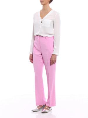 GIVENCHY: Pantaloni sartoriali online - Pantaloni rosa in cady stretch
