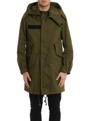 Givenchy: parkas online - Cotton printed military parka