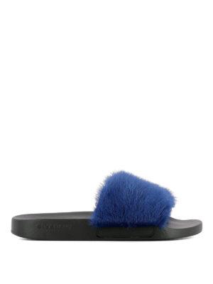 GIVENCHY: sandali - Sandali a fascia in visone blu