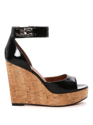 Givenchy: sandals - Cork wedge patent sandals