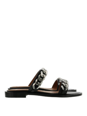 Givenchy: sandals - Double chain leather sandals