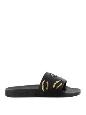 GIVENCHY: sandali - Ciabatte in gomma labbra ricamate