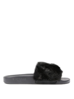 Givenchy: sandals - Flade slides with mink fur