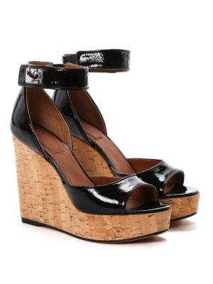 Givenchy: sandals online - Cork wedge patent sandals