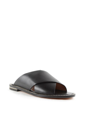 Givenchy: sandals online - Criss cross leather sandals