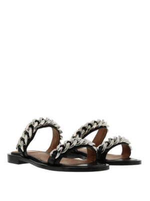 Givenchy: sandals online - Double chain leather sandals