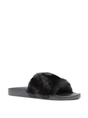 Givenchy: sandals online - Flade slides with mink fur