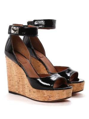 Givenchy: sandals online - Patent leather wedge sandals