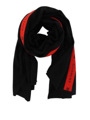 GIVENCHY: sciarpe e foulard - Sciarpa in lana nera e rossa con logo