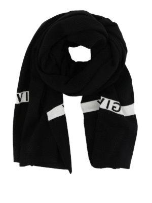 GIVENCHY: sciarpe e foulard - Sciarpa in lana nera con logo a contrasto