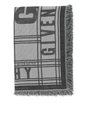 Givenchy: scarves online - Logo lettering fringed scarf
