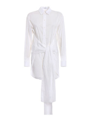 Givenchy: shirts - Cotton voile belted long shirt
