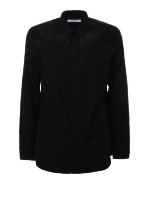 Givenchy: shirts - Embroidered cotton poplin shirt
