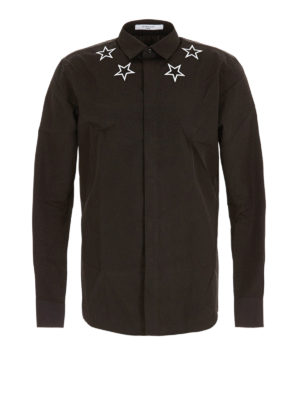 Givenchy: shirts - Embroidered stars cotton shirt