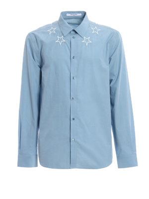 Givenchy: shirts - Embroidered stars light blue shirt