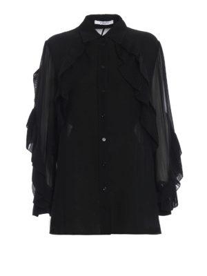 GIVENCHY: camicie - Camicia in georgette con volant plissé