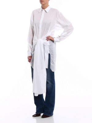 Givenchy: shirts online - Cotton voile belted long shirt