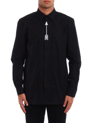 Givenchy: shirts online - Embroidered arrow pleated shirt