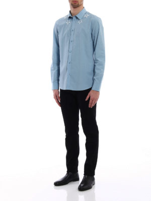 Givenchy: shirts online - Embroidered stars light blue shirt