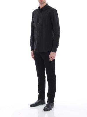 Givenchy: shirts online - Tonal embroidered stars black shirt