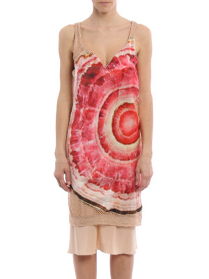 Givenchy: short dresses online - Agate print satin and mesh dress