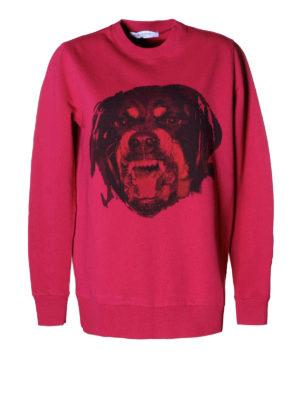 Givenchy: Sweatshirts & Sweaters - Rottweiler print fuchsia sweatshirt