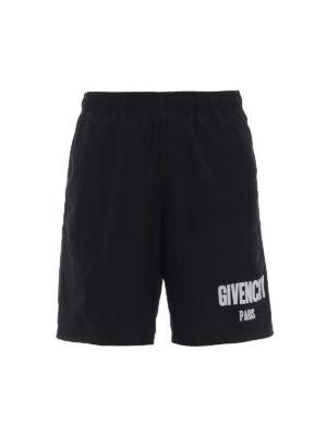 Givenchy: Swim shorts & swimming trunks - Printed logo nylon swim pants