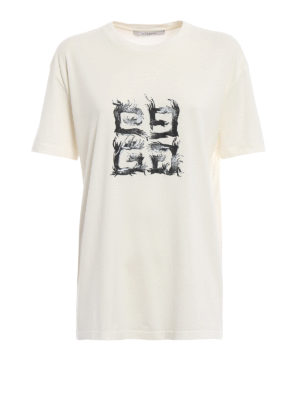 GIVENCHY: t-shirt - T-shirt con stampa logo 4G Flame