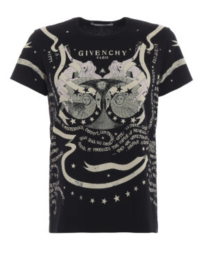 GIVENCHY: t-shirt - T-shirt slim in cotone stampa astrologia