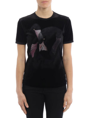 Givenchy: t-shirts online - Flamingo print velvet T-shirt