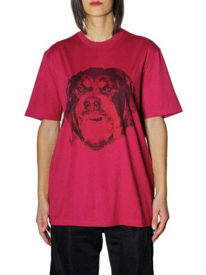 Givenchy: t-shirts online - Rottweiler print fuchsia T-shirt
