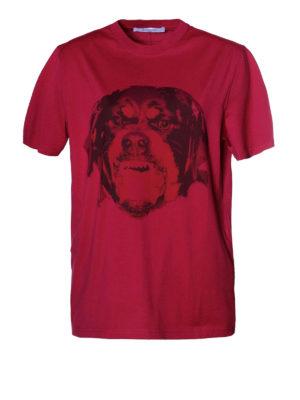 Givenchy: t-shirts - Rottweiler print fuchsia T-shirt