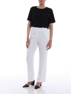 Givenchy: Tailored & Formal trousers online - White stretch cady trousers