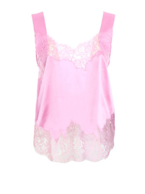 Givenchy: Tops & Tank tops - Lace trim pink silk top