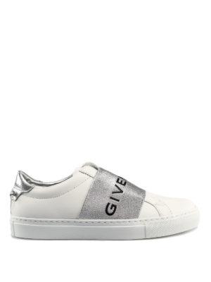 hot sale online eedf6 29fde GIVENCHY  sneakers - Sneaker in pelle bianca con banda logata
