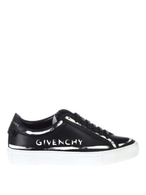Givenchy: trainers - Logo paint effect leather sneakers