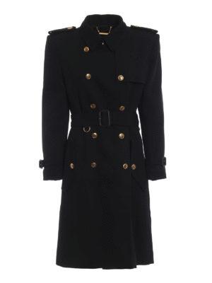 GIVENCHY: cappotti trench - Elegante trench doppio petto in crepe di lana