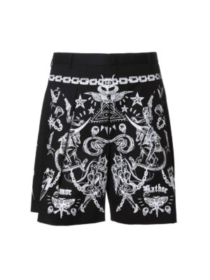 Givenchy: Trousers Shorts - Tattoo print cotton twill shorts