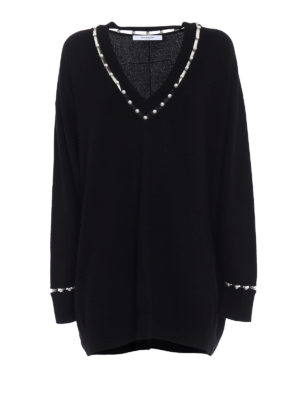 Givenchy: v necks - Cashmere blend pearl over jumper